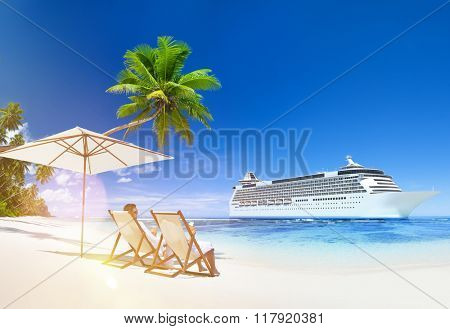 A couple relaxing on the beach Cruise Ship Concept