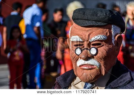 Local With Old Man Mask, Cuidad Vieja, Guatemala
