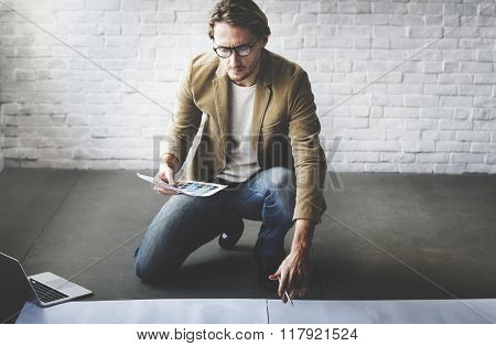 Man Male Concentrate Focusing Planning Strategy Concept