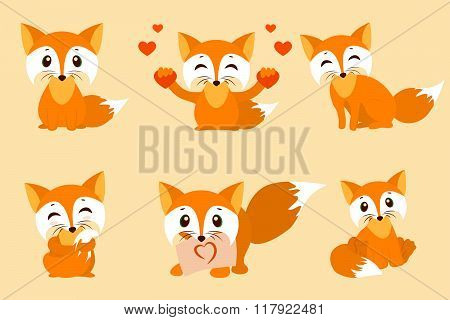 Set of cute foxes. Vector cartoon fox photo. Sitting with hearts, sweet, shy, with a leaf, looks fox