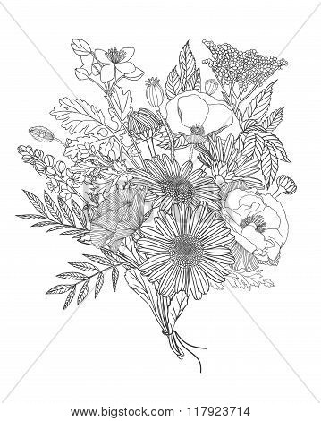 Linear Bouquet Of Assorted Flowers