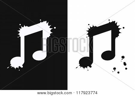 Music on white and black background.