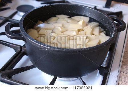 Potatoes In A Saucepan On A Gas Hob