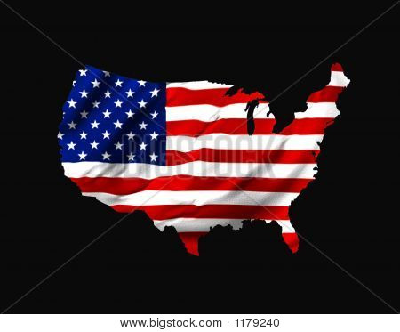 American Flag Shaped As  Map Of U.S.A. On Black