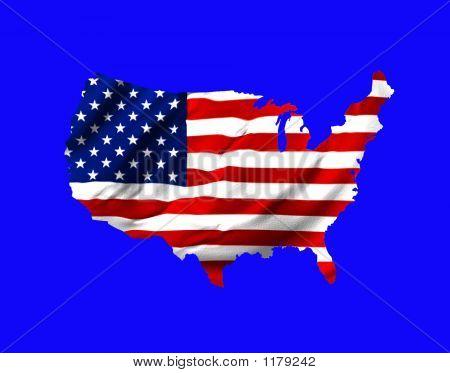 amerikanische Flagge Form Karte der USA auf blau