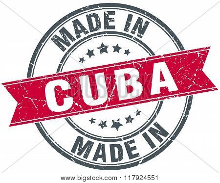 made in Cuba red round vintage stamp