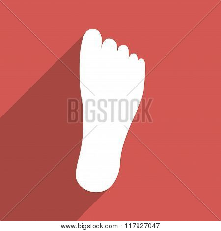 Foot Sole Flat Long Shadow Square Icon