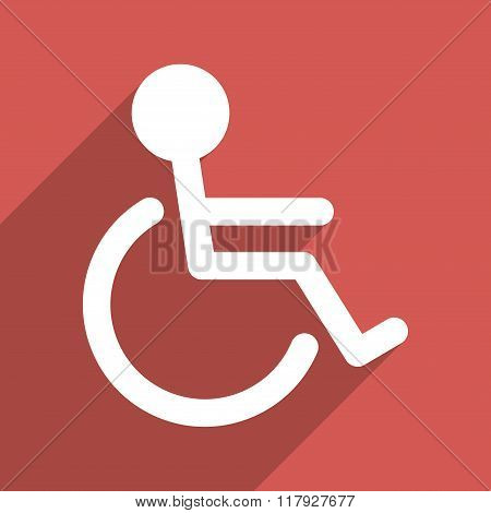 Handicapped Flat Long Shadow Square Icon