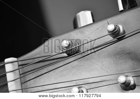 Guitar Tuning Pegs And Posts On Guitar Head, Macro