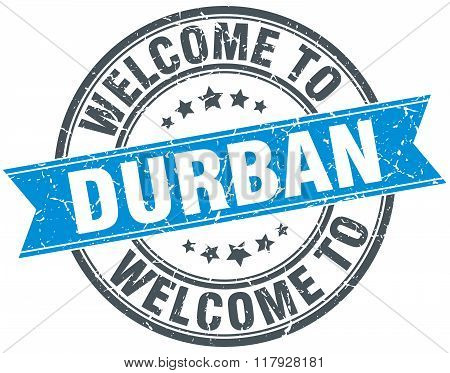 welcome to Durban blue round vintage stamp