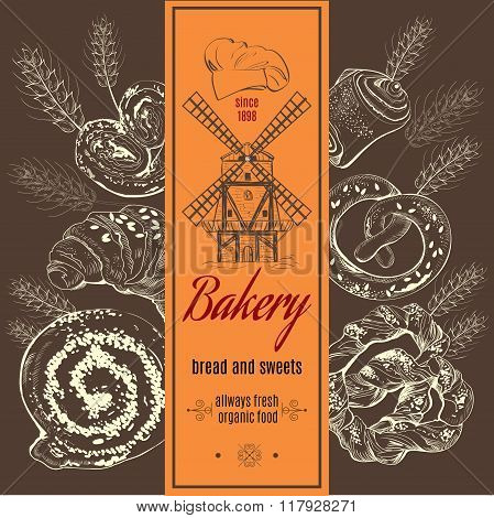 Bakery logotype with mill and ears