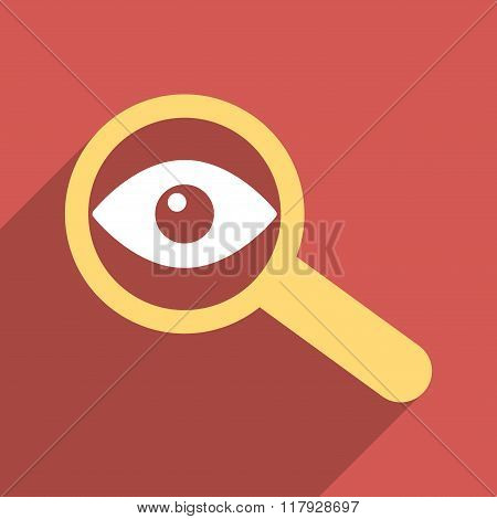 Investigate Vision Flat Long Shadow Square Icon