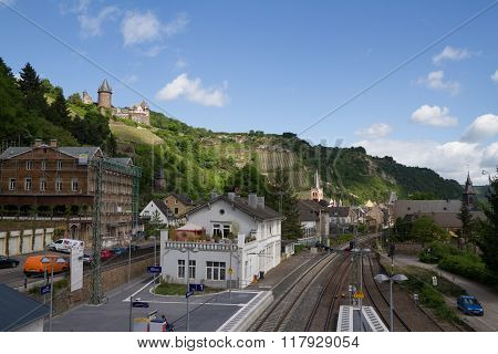 Bacharach Train Station And View Of Castle Stahleck In Rhine Area, Germany.
