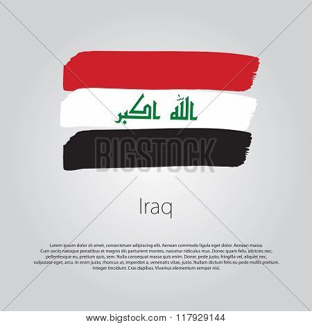 Iraq Flag With Colored Hand Drawn Lines In Vector Format
