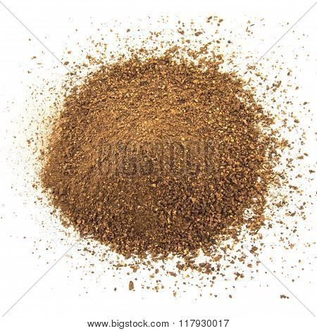 Crushed malt grains fermenting idolated on white background