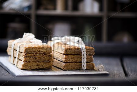 Delicious shortbread on a wooden background