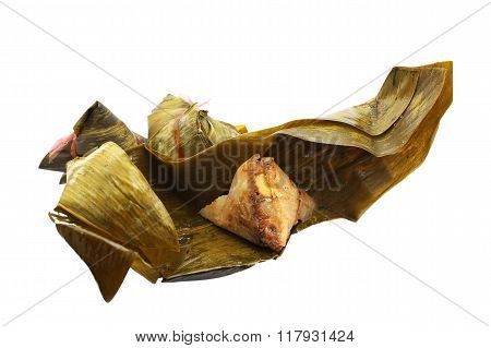 zongzi or chinese tamales isolated on white
