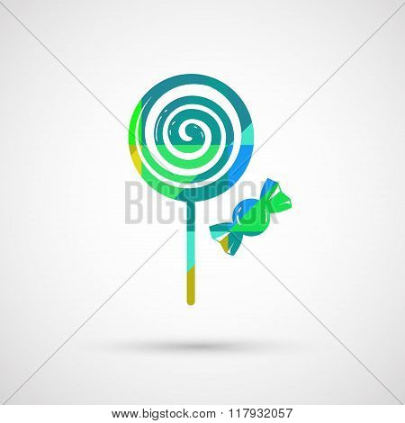 Delicious pink LollyPop and Sweet, Isolated On White Background,