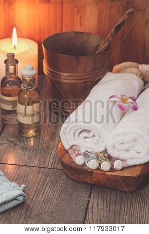 Spa set. Various items used in spa treatments