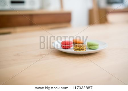 Delicious breakfast some macarons in a dish