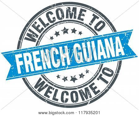welcome to French Guiana blue round vintage stamp