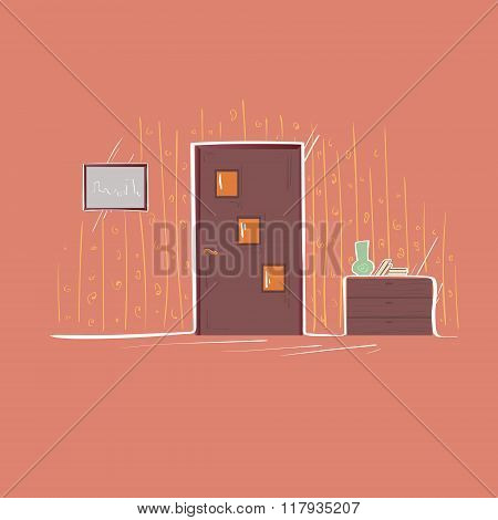 Door Entrance Apartment Living Room Flat Thin Line