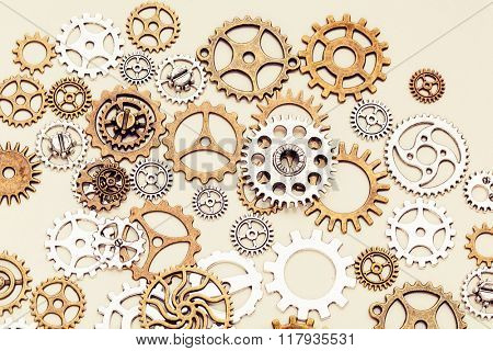 vintage gear wheels on light background