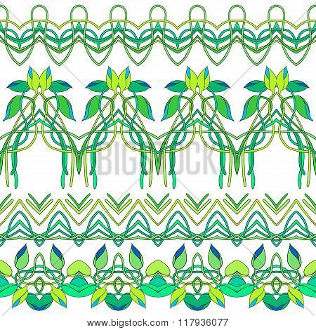 Vector Set Of Four Seamless Florals Borders