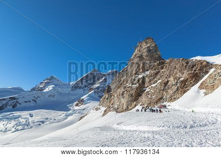 View Of Jungfrau And The Sphinx Observatory From Jungfraujoch