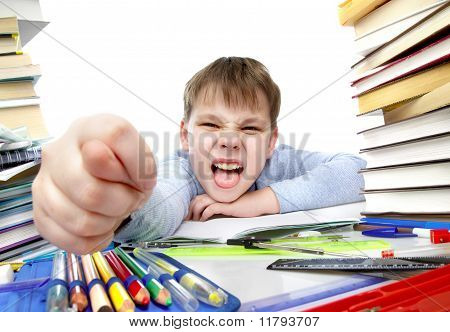 Boy Behind A Table With Books
