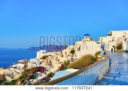 SANTORINI, GREECE - AUGUST 06, 2015: architecture of Santorini island. The traditional architecture of Santorini is similar to that of the other Cyclades, with low-lying cubical houses.
