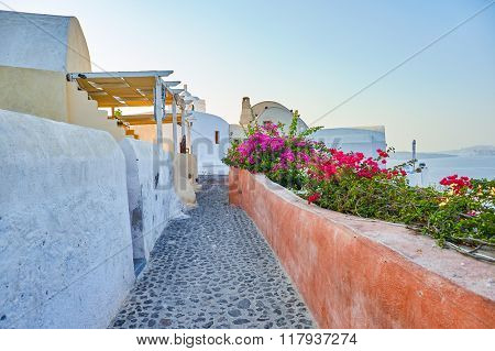 SANTORINI, GREECE - AUGUST 06, 2015: Santorini architecture. The traditional architecture of Santorini is similar to that of the other Cyclades, with low-lying cubical houses