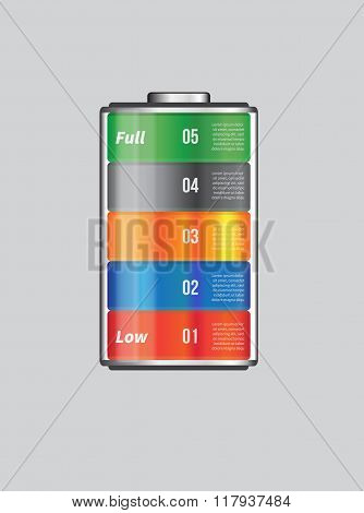 Vector Battery Element Infographic Template. Design Concept For Presentation, Graph, Diagram And Cha