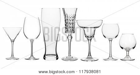 Collage of various glasses clear isolated on white