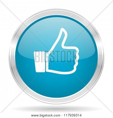 like blue glossy metallic circle modern web icon on white background