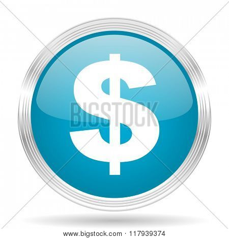 dollar blue glossy metallic circle modern web icon on white background