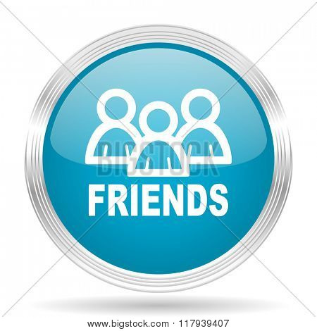friends blue glossy metallic circle modern web icon on white background