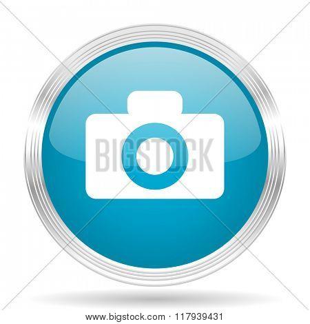 camera blue glossy metallic circle modern web icon on white background