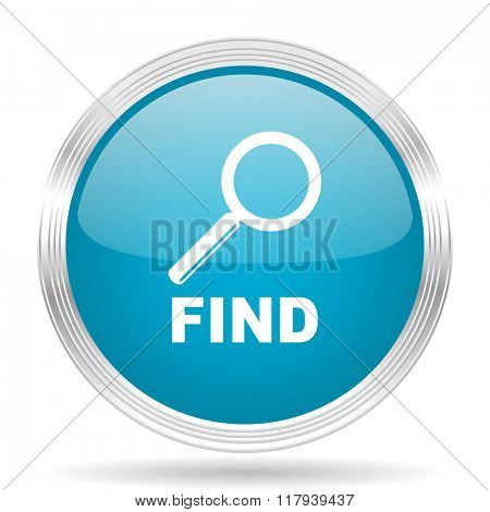 find blue glossy metallic circle modern web icon on white background