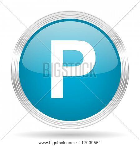 parking blue glossy metallic circle modern web icon on white background
