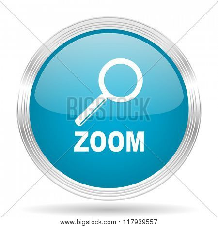 zoom blue glossy metallic circle modern web icon on white background