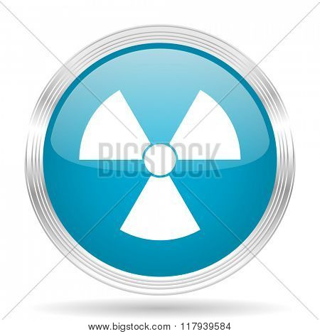 radiation blue glossy metallic circle modern web icon on white background