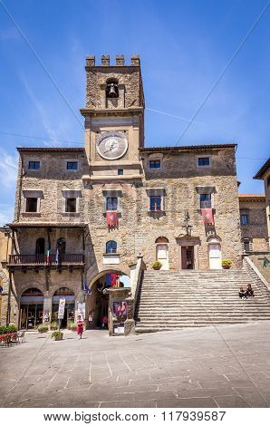 Palazzo Comunale Historic Building In Cortona, Italy