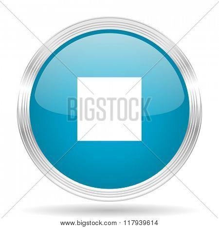 stop blue glossy metallic circle modern web icon on white background