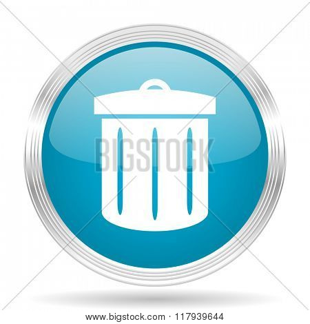 recycle blue glossy metallic circle modern web icon on white background