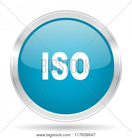 iso blue glossy metallic circle modern web icon on white background