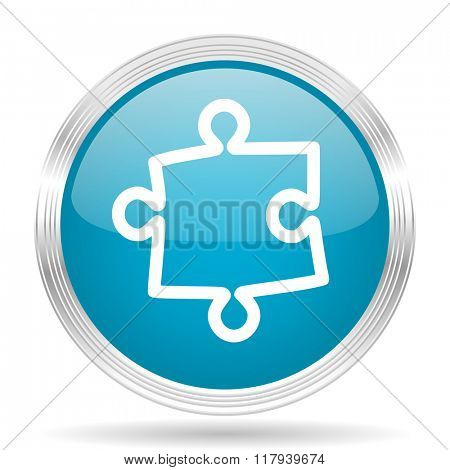 puzzle blue glossy metallic circle modern web icon on white background
