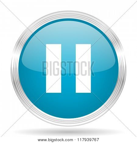 pause blue glossy metallic circle modern web icon on white background