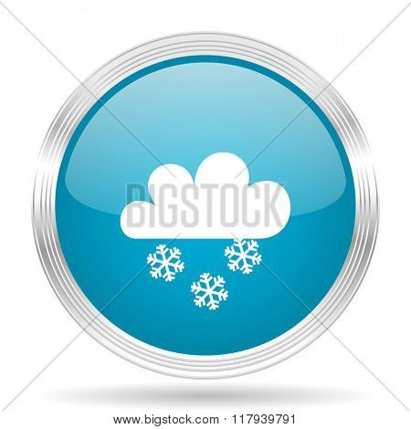 snowing blue glossy metallic circle modern web icon on white background