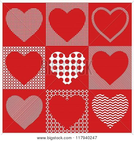 Vector set hearts  illustration. Valentines hearts. Collection of hearts for decoration postcards. H